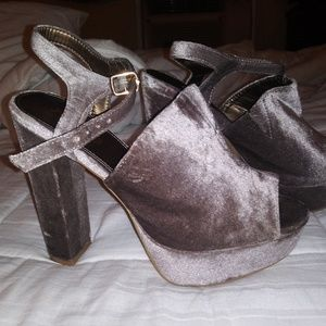Shoes - Silver chunky heels